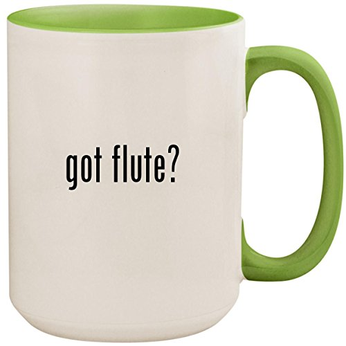 got flute? - 15oz Ceramic Colored Inside and Handle Coffee Mug Cup, Light ()
