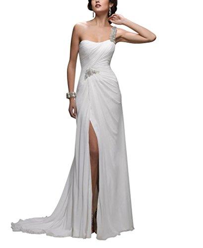 ein Split Chiffon Hochzeitskleider Weiß BRIDE Zug Voraus GEORGE Lace Schulter Brautkleider Gericht qwaFxTE