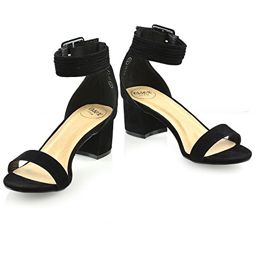 Bridesmaid Black Shoes Heel GLAM Strap Open Toe ESSEX Sandals Womens Party Ladies Low Mid Ankle pqxAxvF
