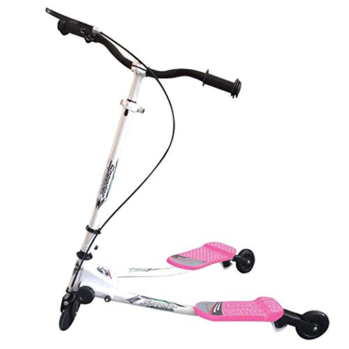 Kids Mini 3 Wheel Swing Scooter, Y Flicker Foldable Tri Slider Motion Winged Push Scooter for Boys / Girls / Children 5+ Years Old (Pink)