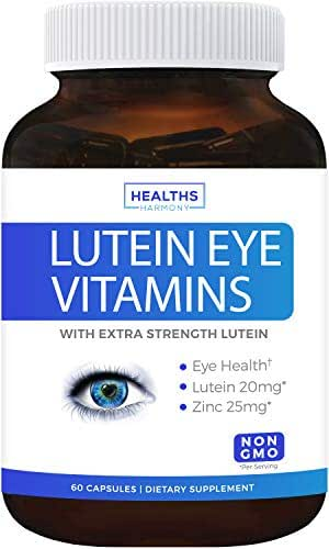 Lutein Eye Vitamins (Non-GMO) Vision Support Supplement for Dry Eyes & Vision Health Care - Bilberry - 60 Capsules