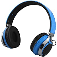 Gacho Wireless On Ear Headphone, Support TF Card, Sleek and Durable Headset with Constant Stylish blinking lights, Stereo Sound with Heavy Bass , Fold-able Make it more Easier to Carry-Blue