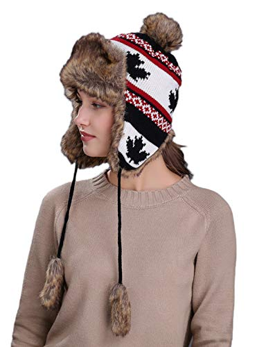 - Home Prefer Faux Fur Winter Trapper Hat Womens Russian Style Pompom Earflaps Hat Black