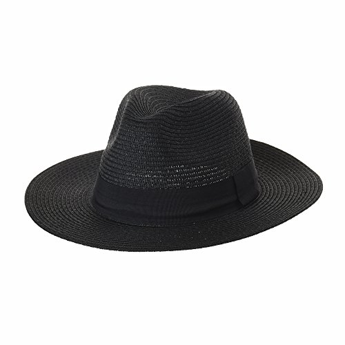 Wide Banded Sl6690 Summer Panama Nero Fedora Brim Hat Cool Black Cappello Withmoons qwYpxzvXz