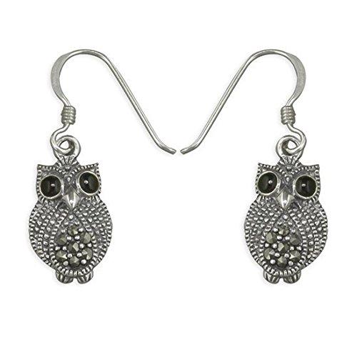 (Unusual Owl Sterling Silver Dangly Drop Hook Earrings With Marcasite Stones - Cute Design)