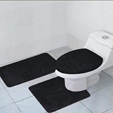 3-Piece Quinn Solid Bathroom Accessory Set Bath Mat Contour Rug Toilet Lid Cover - Black