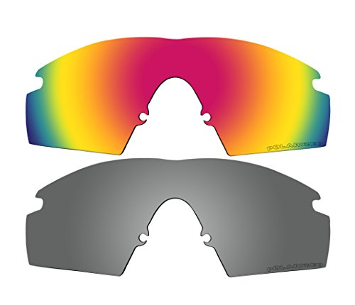 2 Pairs Polarized Replacement Lenses Red & Black Mirror for Oakley M Frame Strike, New (1999) - M Sunglasses