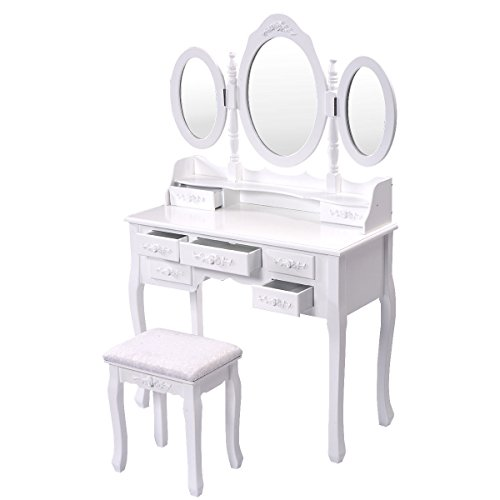 (Mirror Wood Vanity Makeup Table Set with Stool &7 Drawers Tri Folding Oval)