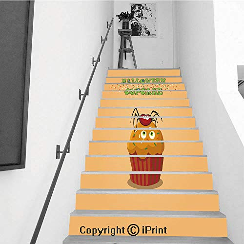 baihemiya stickers 13Pcs Stair Sticker Decals 3D Creative Building Stair Risers Tiles Wallpaper Mural Self-Adhesive,Cute Happy Halloween Cupcake with Spider and Monster Eyes on -
