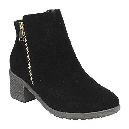 Beston DE02 Women's Stacked Heel Side Zipper Plain Daily Wear Ankle Booties