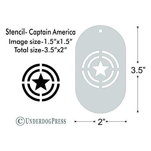 Stencil- Captain America Shield, 1.5x1.5 on 3.5x2 Border, Size 1