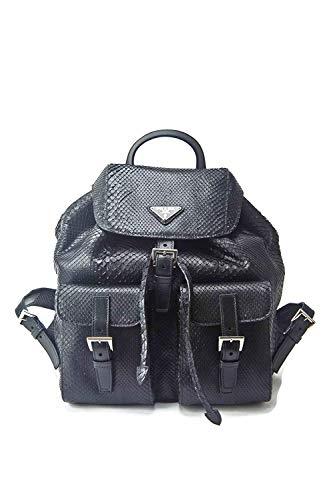 Prada Impossible To Find Black Genuine Python Snake Skin Backpack Purse Bag - Current Season Sold -