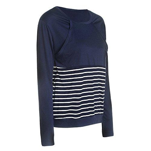 L'allattamento Doppi Top Allentato Lunga Besthoo Femminili shirt Blue Strati Maglietta Bluse Premaman Patchwork Eleganti A Comoda T Righe Donna Manica 5AOwRpx