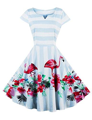 LaceLady BoatNeck Vintage Sleeveless Tea Dress with Belt Pleated Swing Party Navy lemon - Sleeveless Dress Flare