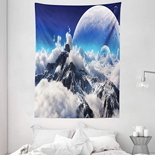 Ambesonne Astrology Tapestry, Constellation of Zodiac and Planets Original Coordinates of Celestial Body Pattern, Wall Hanging for Bedroom Living Room Dorm Decor, 60 X 80 , Dark Blue