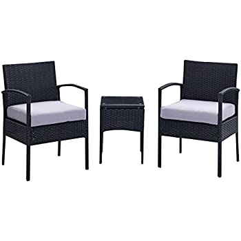 IDS Home 3 Piece Cushioned Compact Outdoor/Indoor Patio Garden Lawn Furniture Pe Rattan Wicker Sofa Set, White/Black