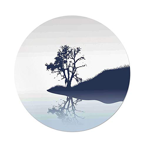 iPrint Polyester Round Tablecloth,Nature,Silhouette of Lonely Tree by Lake with Mirror Effects Melancholy Illustration,Indigo Baby Blue,Dining Room Kitchen Picnic Table Cloth Cover,for Outdoor Indoor
