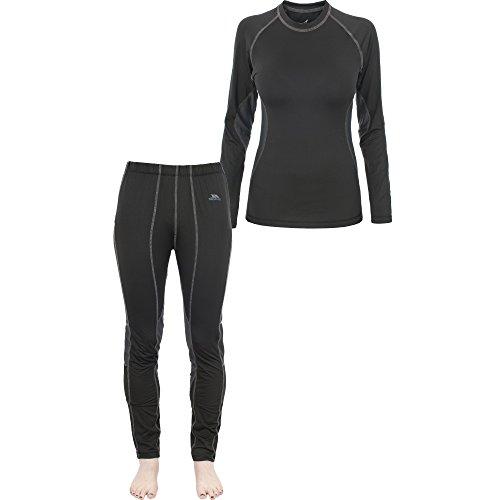 Trespass - Conjunto de camiseta y pantalones interiores de deporte para mujer - Nieve/Esquí Negro