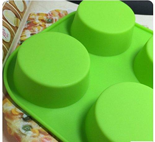 Hosaire 1X Moldes de Silicona Reposteria Molde Bizcocho Molde cil/índrico de 6 Agujeros Haz diminutos Bombones para Decorar Cupcakes para tu Familia Verde