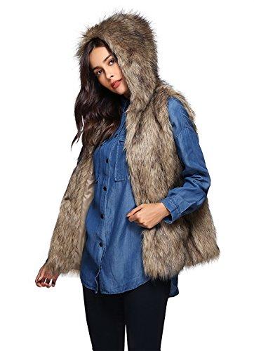 Hooded Waistcoat - Escalier Womens Warm Faux Fur Vest Hooded Waistcoat Sleeveless Jacket Outerwear M