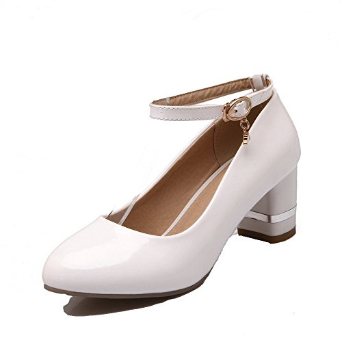 Odomolor Women's PU Solid Buckle Round-Toe Kitten-Heels Pumps-Shoes, White, 40