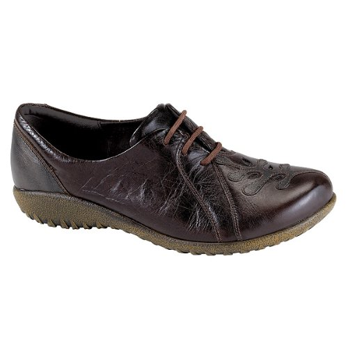 Naot Footwear Women's Hui Espresso Leather/Black Pearl Leather Oxford 37 (US Women's 6) M by NAOT