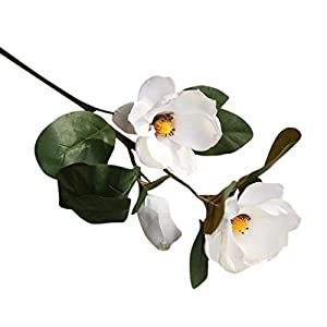 BYEEE CLEARANCE! Artificial Magnolia Flowers Artificial Plant Real-touch Magnolia Bouquet Home Wedding Decoration,Home Decor Party Garden Office (White❤️, 75cm) 31