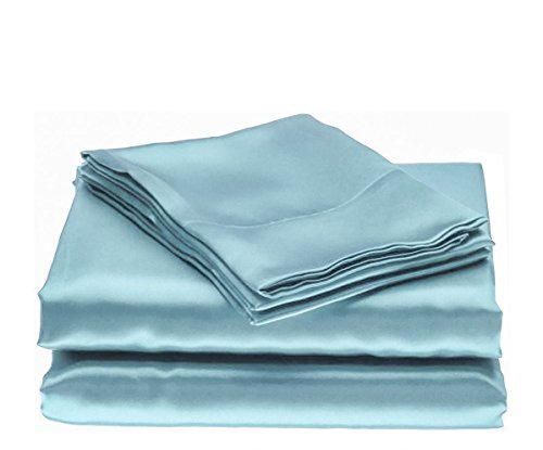 (Reliable Bedding Luxurious Ultra Soft Silky Satin 4-Piece Bed Sheet Set Twin XL, Sky Blue)