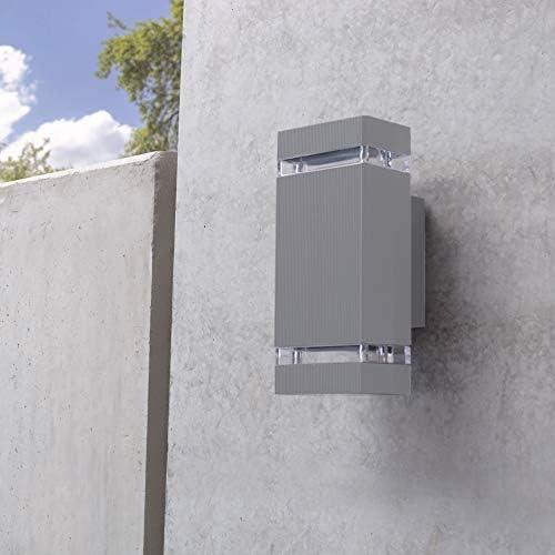 SSC-LUXon LED Außenwandleuchte SELA 2er Set mit GU10 LED 5W warmweiß 230V - Up & Down Wandleuchte grau IP54 Garten & Terrasse