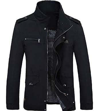 XINHEO Mens Stand Collar Open Work Travel Safari Venture Jacket Black 2XL