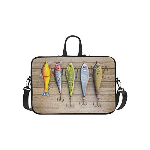 Beautiful and Beautiful Fishing Bait Pattern Briefcase Laptop Bag Messenger Shoulder Work Bag Crossbody Handbag for Business Travelling