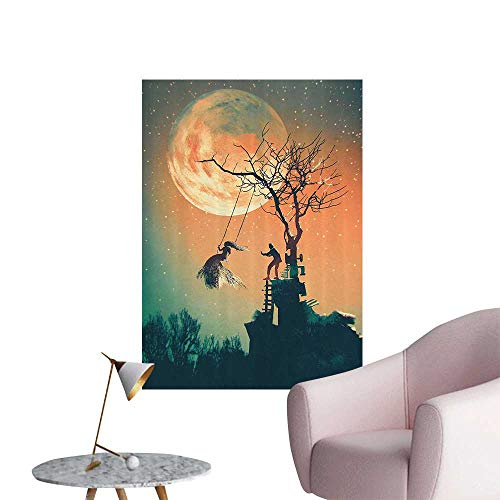 Wall Decorative Spooky Night Zombie Bride and Groom Lady Swing Under Starry Sky Pictures Wall Art Painting,24
