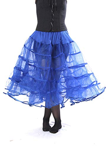 - Melonie Tea Length Net Crinoline - for Stiff Structured Support Under Vintage Clothing Rockabilly or Wedding/Formal Dress Royal Blue