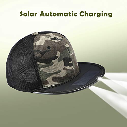 ghts Solar Rechargeable for Fishing Hunting Biking Walking Outdoors Lighted Cap ()