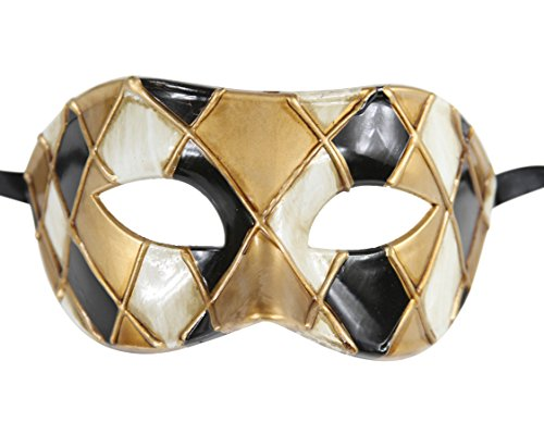 Luxury Mask Men's Vintage Design Masquerade Prom Mardi Gras Venetain, Black/Gold Checkered, One ()