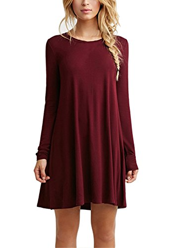 Bestisun Women's Casual Christmas Dress Simple Flowy Womens Loose Long Casual Black Christmas Dresses For Women Sleeve Wine Red - 828 Wine