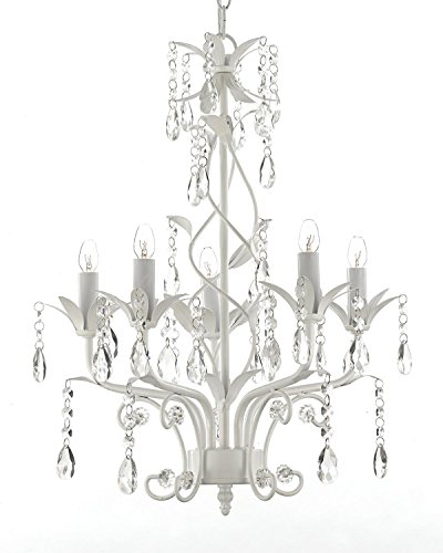 Wrought Iron and Crystal 5 Light White Chandelier Pendant Lighting H20.5