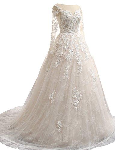 Spitze Langarm Prinzessin Brautkleider Hochzeitskleider Erosebridal Weiß OtTSfnqn
