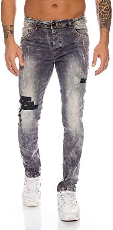 Benk Designer męskie spodnie jeansowe Regular Slim Fit Used spodnie jeansowe Stretch 18: Odzież