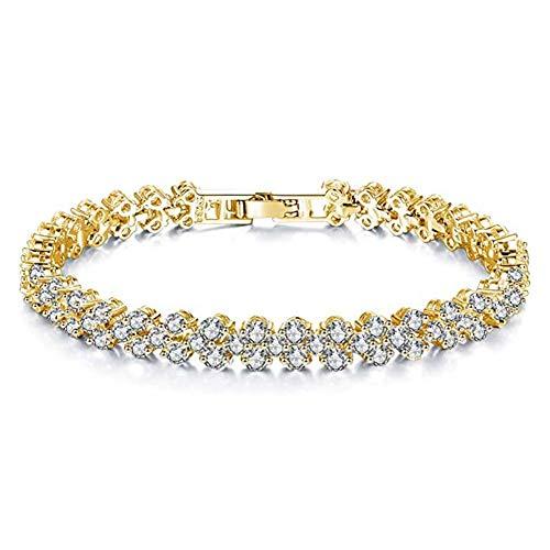 Songlanbuy Women Cubic Zirconia Tennis Bracelet, Bridal Rhinestone Bracelet Bangle Link, Fashion Silver/Gold Plated Crystal Bracelets Bangle Teen Girl Valentine's Chain Bracelet Lovers Gifts (Gold)
