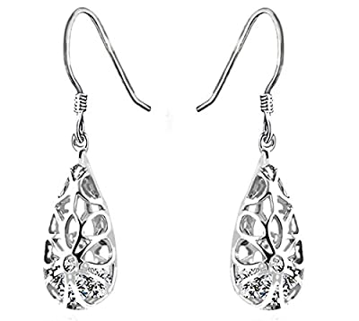 925 Sterling Silver Vintage-Inspired Teardrop Filigree Earrings for Women with CZ by Politeny