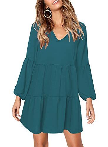 Arolina Women's Pleated Casual V Neck Long Sleeve Summer Tunic Dress Blue -
