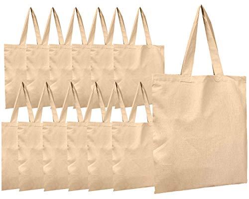 BagzDepot Canvas Tote Bags Wholesale - 12 Pack - Grocery Cotton Tote Bags in Bulk, Reusable Bags for Decorating Crafts Blank Canvas Bags Events Schools Well Made Sturdy Large Cloth Bags Plain 15 X 16
