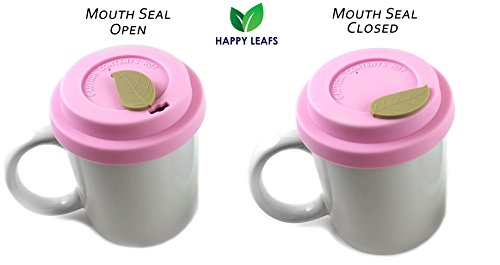 HAPPY LEAFS Reusable Silicone Cup Lids with MOUTH SEAL for Coffee Mugs & Tea Cups [Set of 4] - Anti-Dust, Spill Proof, Keep Drink HOT
