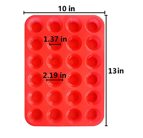 2Packs Silicone Mini Muffin Pan Silicone Cupcake Baking Cups, 24 Non Stick Silicone Molds for Muffin Tins(Red) by Suntake (Image #3)