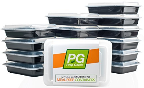 PrepGoods Meal Prep Containers [16 Pack] Single Compartment | Food Storage Bento Box | Reusable Lunch Box | BPA Free| Portion Control | Microwave/Dishwasher/Freezer Safe (28 -