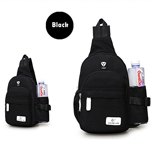 Women's Solid Color Water Resistant Nylon Chest Bag Sling Shoulder Backpack Cross Body Bags (Black)