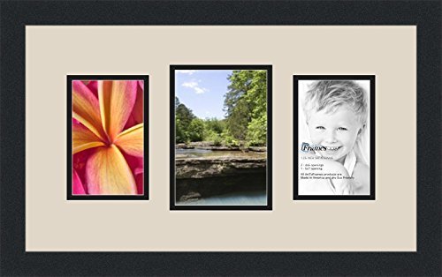 ArtToFrames Collage Photo Frame Double Mat with 1 - 5x7 and 2 - 4x6 Openings and Satin Black Frame