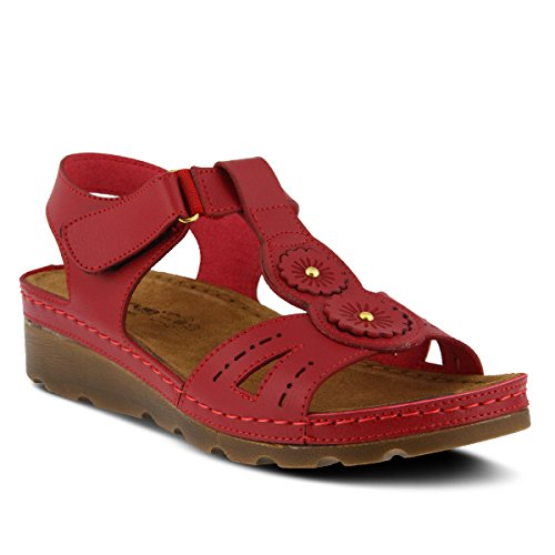 Flexus Womens Style Silas Red EURO Size 39 Synthetic Sandal