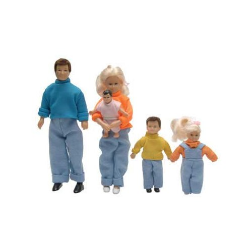 Aztec Imports, Inc. Dollhouse Miniature 5-Pc. Doll Family with Extra Clothes